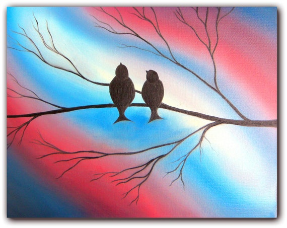 Original Art Abstract Bird Painting, Bird on Branch Oil Painting, Whimsical Art Love Birds, Abstract Art Bird Art, Tree Branch Art, 11 x 14