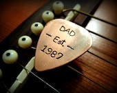 Hand Stamped Fathers Day Gift - For Dad - Hand Stamped Copper Guitar Pick Great Gift!