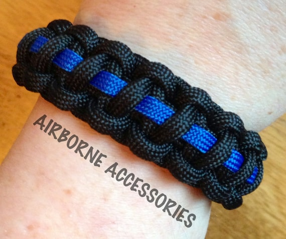 "Thin Blue Line - POLICE - 550 Paracord bracelet - 6""-10"" - PLEASE READ entire listing to ensure you are ordering the correct size"