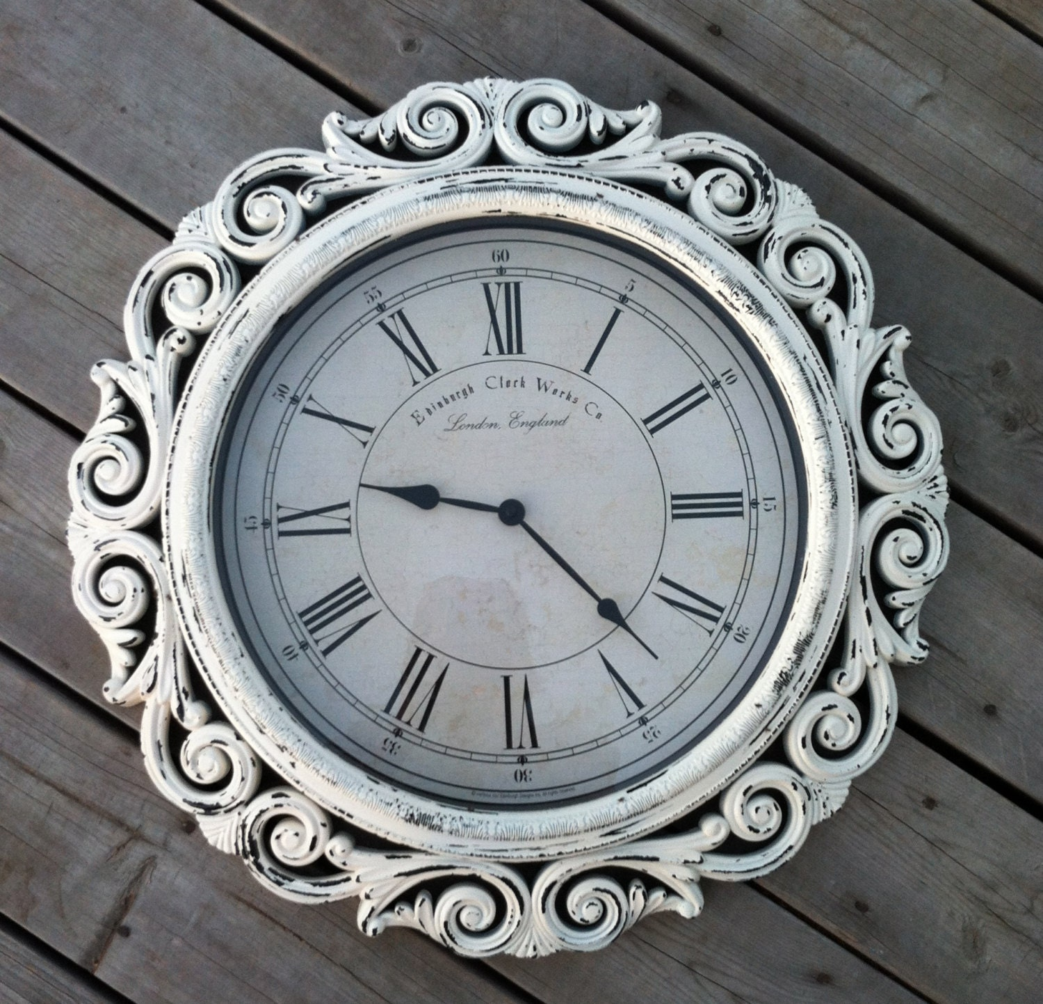Extra Large Baroque Wall Clock 23 Wide White By