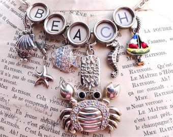 BEACH Necklace Vintage Typewriter Key Custom Made with Vintage Sterling and New Charms