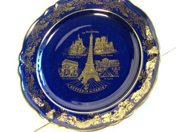 Paris Souvenir Porcelain Limoges plate, La Tour Eiffel, Made in France, Imperial Limoges Eiffel Tower plate