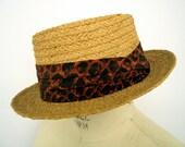 SALE! Lee Straw Porkpie with fabric hat band / men's vintage wicker hat / medium