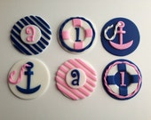Navy Blue and Pink Nautical Cupcake Toppers