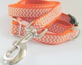 Orange Chevron Dog Collar and Leash Set - Small Dog - Special Offer