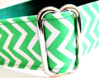 """Green Chevron Dog Collar for  Irish Dogs 1.5"""""""