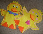 Personalised Childs Name Yellow Felt Chick Boy or Girl Hand Puppet. Hand Made. Easter Gift, Waldorf,