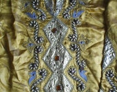 SALE Gold Embellished Satin Abaya or Dress from Damascus, Syria