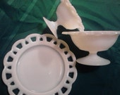 Three Vintage  Milkglass Serving Pieces ECS