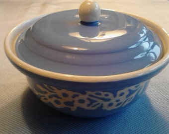 "Vintage  Harker Pottery Co. Blue ""White Rose""  Cameoware   Covered Dish  ECS"