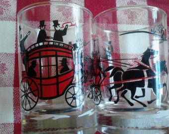 Vintage  Novelty Barware, Small Tumblers,   Horse and Carriage Glasses  ECS