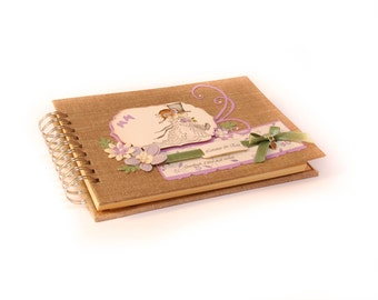 Wedding guestbook, thoughts book linen cover