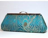 Bridesmaid clutch, EllenVintage Peacock Teal Clutch with Silk lining (choose your color) , Bridesmaid gift idea, Wedding clutch