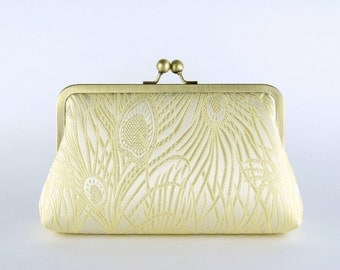 EllenVintage Peacock Cream & Light Gold Clutch with Silk lining (choose your color) , Bridesmaid gift, Wedding clutch, Bridesmaid clutch