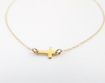 Tiny Gold Sideways Cross Necklace, Gold Filled, Gold Vermeil