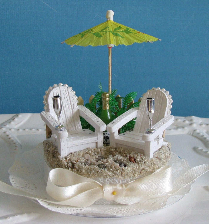 Adirondack Chairs Beach Umbrella Wedding Cake Topper Champagne