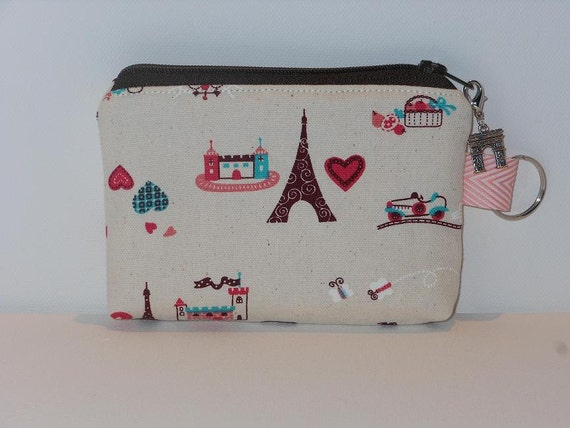 Coin Purse / Zipper Coin Purse / Zipper Pouch / Small Pouch / Padded - Eiffel Tower