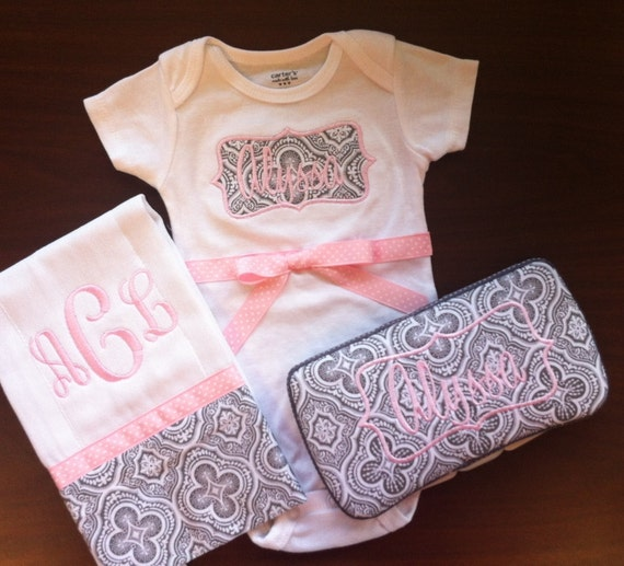 Monogrammed Baby Gift Set (Includes monogrammed one-piece, monogrammed burp cloth and monogrammed baby wipe case.