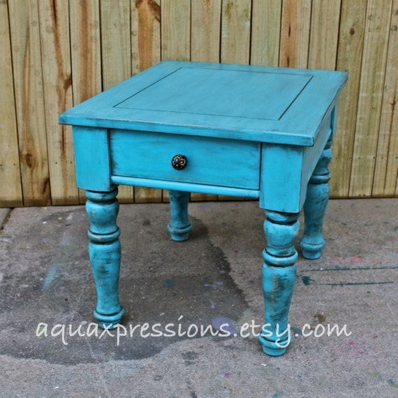 Distressed Blue Coffee Table: Turquoise Blue/ Night Stand /End Table/ Side By AquaXpressions
