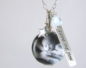 Glass Locket Necklace Personalized God Gave Me You New Mom Necklace Photo Locket New Baby Gift Personalized God Gave Me You
