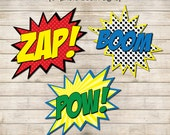 "Superhero Photo Booth Signs Printable Instant Download - 6"" & 8"" Signs 