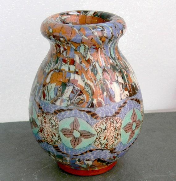 mid century gerbino vallauris mosaic pottery vase france. Black Bedroom Furniture Sets. Home Design Ideas
