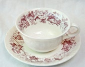 Vintage purple Old Vine Wedgwood teacup with saucer...Ca. 1940s.