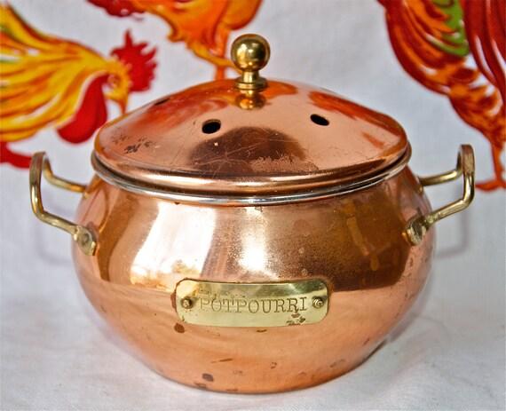 Vintage copper potpourri pot with brass.