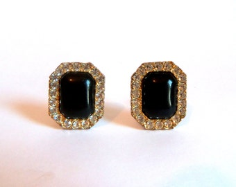 vintage rhinestone earrings - big glamourous glossy black cabochon surrounded by sparkling crystal gems in gold tone octagonal setting