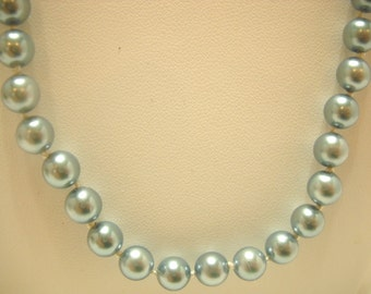 """Vintage 23"""" BLUE FAUX PEARL Necklace, G. Silver (Gilded Silver) (2942)"""