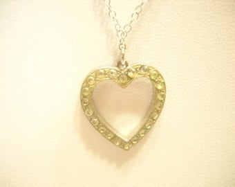 Vintage RHINESTONE HEART PENDANT Necklace (4752) Sterling Chain