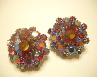 RED AURORA BOREALIS Rhinestone Clip Earrings (6004)