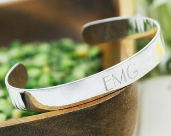Personalized Cuff Bracelet in Sterling Silver - Personalized Bracelet