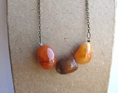 Orange brown and Yellow Natural Stone Necklace Hipster City Girl Necklace