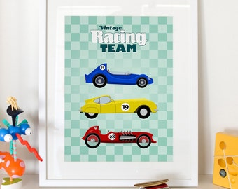 "Vintage Racing Cars Kids Print - Home Decor Nursery Poster 13x19"" A3plus"