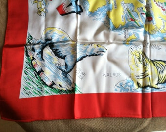 Gorgeous Alaskan Souvenir Scarf, Brilliant Reds and Yellows