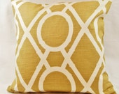 Reserved for Wendy - 2 Trellis Accent Pillows - Gold - Yellow - White - 18 inch