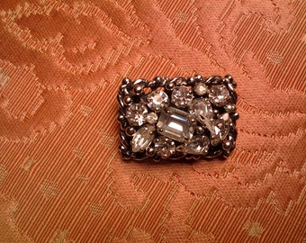 Barclay Brooch, Variety of Clear Rhinestones, on Silver Tone Metal