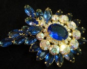 Huge 1930s Cornflower Blue Art Glass Brooch Unsigned Deco Irridescent Rhinestone Pin