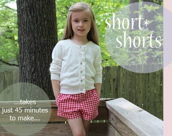 SALE Simply Sweet Shorts - Girl's Short PDF Pattern. Girl PDF Sewing Pattern. Sizes 1-8