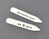 Personalized Collar Stays, Set of Two, Hand Stamped, Dad, Father's Day gifts, Grandpa, Men's Gift, We Love You, kids name, Groomsmen