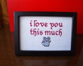 I love you this much framed cross stitch
