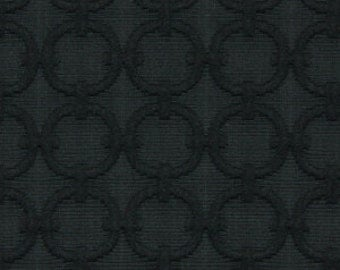 Black Geometric Upholstery Fabric - Textured Dot Fabric for Furniture - Solid Black Pillows with Cording - Black Padded Headboard Fabric
