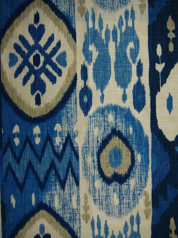 Navy Blue Ikat Contemporary Indigo Blue Linen Curtains