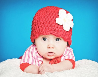 Baby Girl Hat 0 to 3 Month Red Baby Hat Baby Girl Clothes Crochet Flower Hat Flapper Beanie Flapper Hat Spring Photo Prop Photography Prop