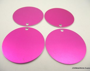 "5 1.5 Inch Pink Aluminum Tags, Extra Large Blank Discs, 1.5"" Anodized Aluminum Blanks"