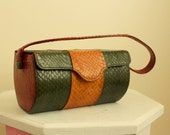 RESERVED - - -  1950s Purse - Snakeskin Bag - Multi colored purse - Vintage handbag - Leather Purse - 50s