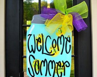 Mason Jar Wreath | Mason Jar Decor | Mason Jar Door Hanger | Summer Wreath | Summer Door Hanger | Summer Wreath