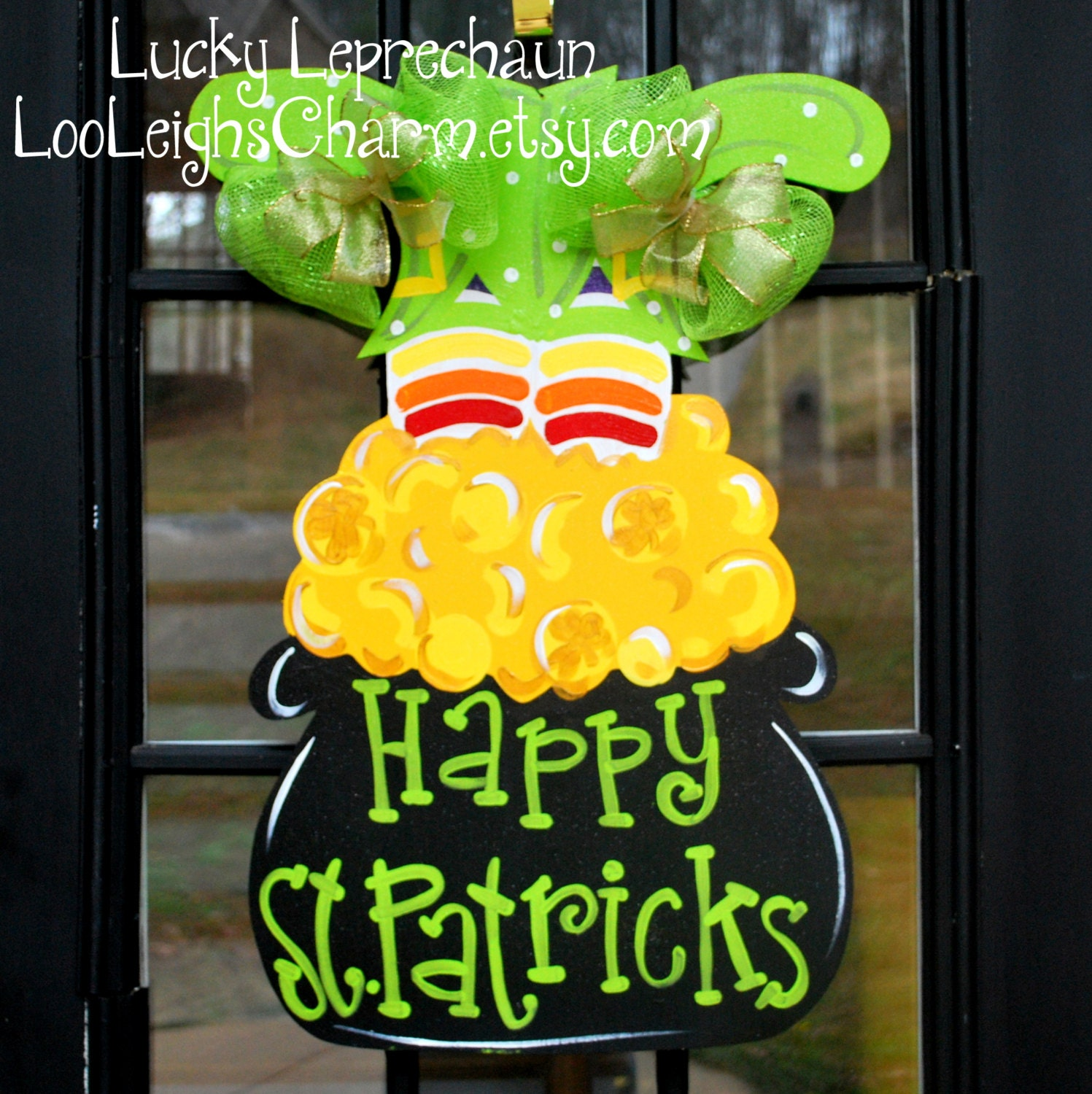 St patricks day wreath st patricks day door by looleighscharm for Decoration saint patrick