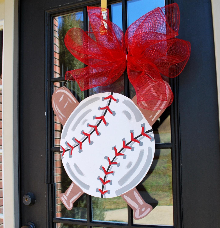 Door hanger baseball softball baseball wall decor sports for Decoration hangers
